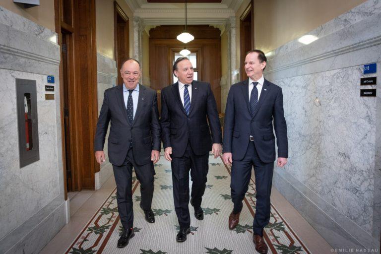 Christian Dubé, François Legault et Éric Girard